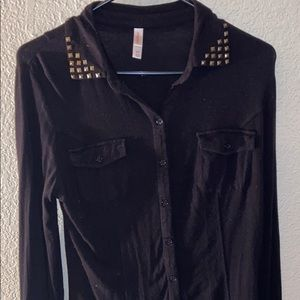 Long Sleeve Black Button Up with Studs
